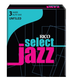 Rico RIJSASU3H Jazz Select Alto Sax 3 Hard Unfiled Box Reeds